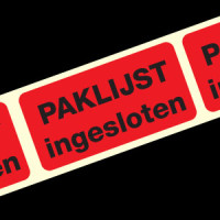 Standaard Etiket: Paklijst ingesloten